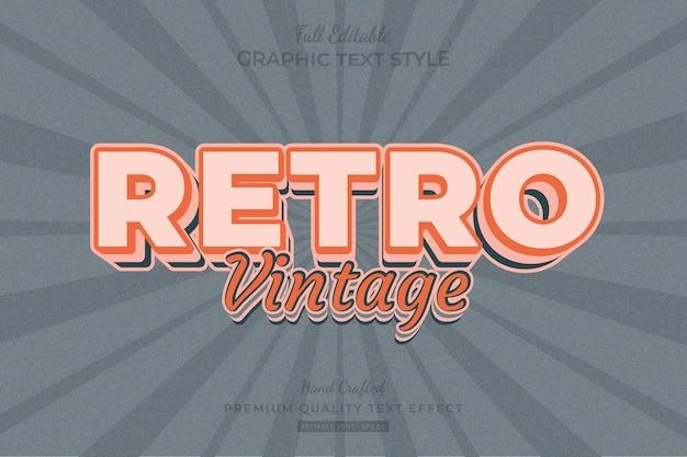 Retro vintage bearbeitbarer premium-texteffekt-schriftstil