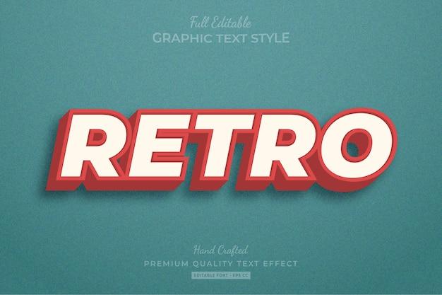 Retro vintage bearbeitbarer texteffekt-schriftstil Premium Vektoren