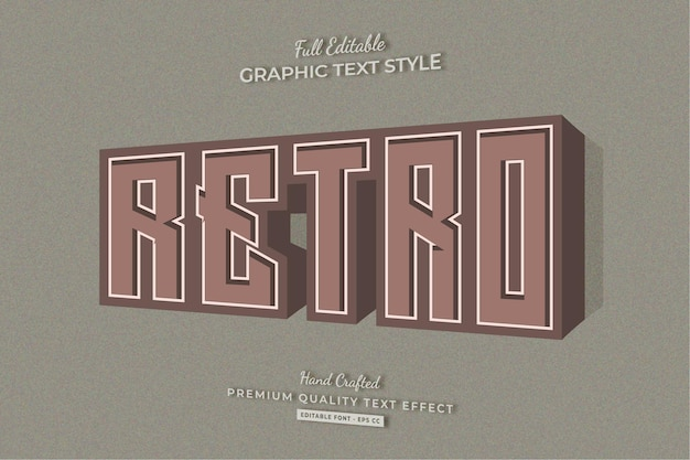 Retro vintage bearbeitbarer texteffekt-schriftstil
