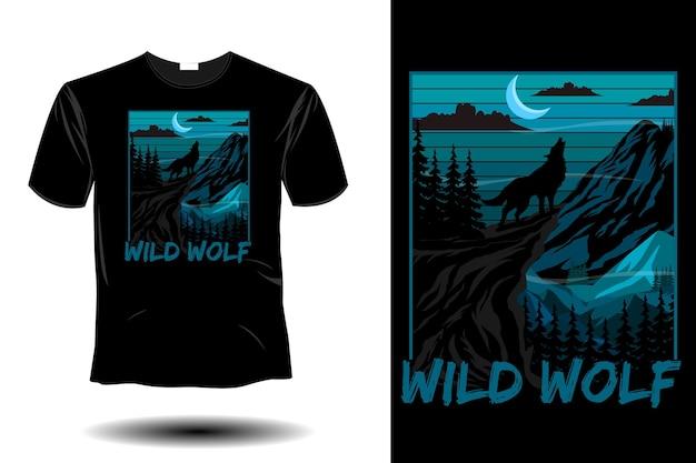 Retro-vintage-design des wilden wolfs mockup