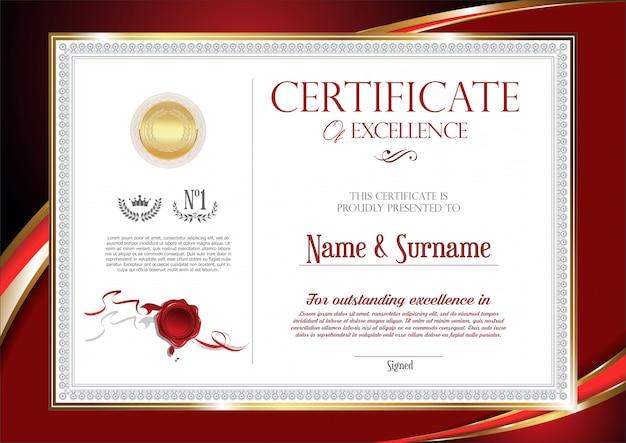 Retro-vintage-design des zertifikats oder des diploms