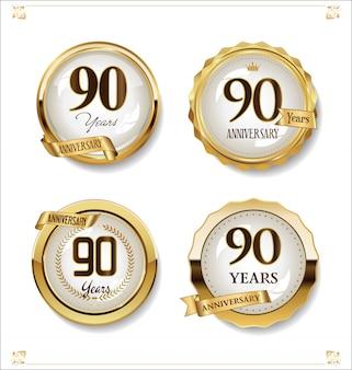 Retro vintage designkollektion der goldenen etiketten des jahrestages
