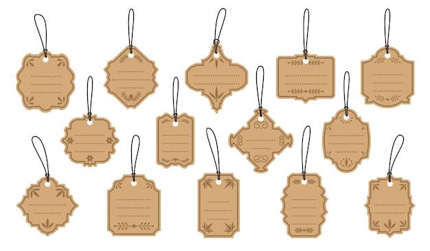 Retro vintage etiketten auf kraftetiketten gesetzt. vorlage mit punkten für text. verkaufspreis des leeren randmenüs der verschiedenen formen