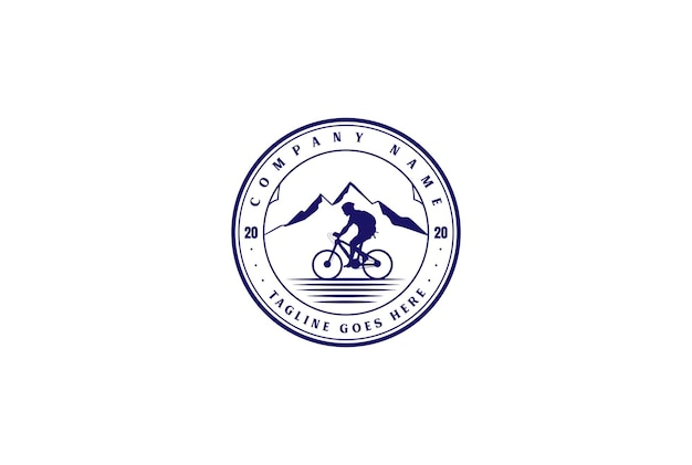 Retro vintage fahrrad downhill sport club abzeichen emblem logo design vector