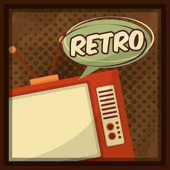 Retro- vintage fernsehspracheluftblase punktierte hintergrund