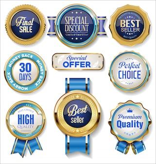 Retro vintage gold und blau abzeichen und etiketten sammlung