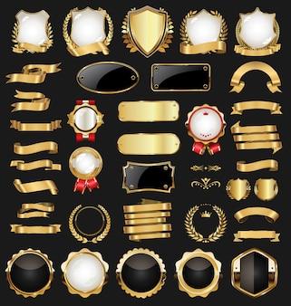 Retro vintage gold und schwarz abzeichen und etiketten sammlung