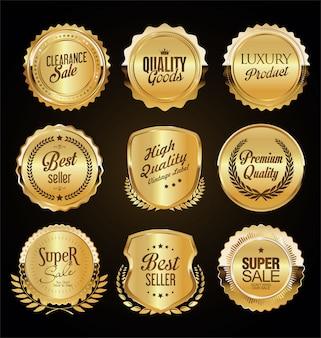 Retro vintage goldene abzeichen etiketten und schilde