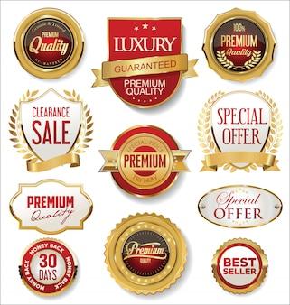 Retro vintage goldene abzeichen und etiketten sammlung