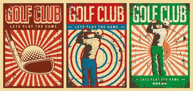 Retro vintage golf club poster zeichen