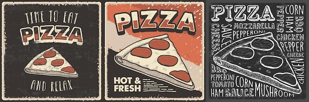 Retro vintage handgezeichnete illustration von pizza passend für holz poster wanddekor oder beschilderung