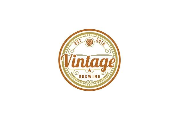 Retro vintage hopfen für craft beer brewing brewery logo design vector