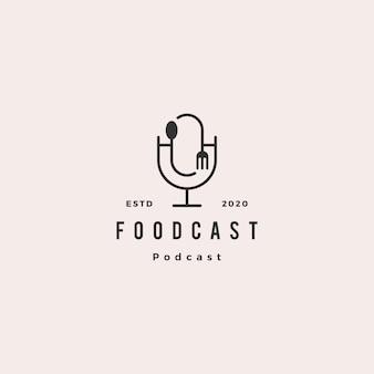 Retro- vintage ikone des lebensmittelgabel-löffel-podcastlogohippies für das lebensmittel, das restaurantblogvideo-vlog-berichtskanal kocht