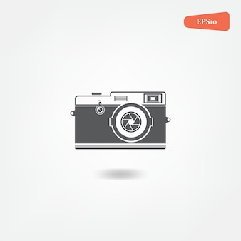 Retro-vintage-illustration der kameraikone