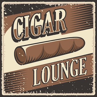 Retro-vintage-illustration vektorgrafik der kubanischen zigarrenlounge passend für holzposter oder beschilderung