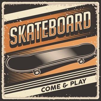 Retro vintage illustration vektorgrafik von skateboard fit für holzplakate oder beschilderung