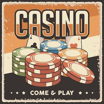 Retro-vintage-illustrationsgrafik von casino-chips
