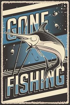 Retro-vintage-illustrationsvektorgrafik des fischens passend für holzplakat oder -beschilderung