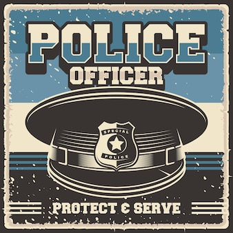 Retro-vintage-illustrationsvektorgrafik des polizisten passend für holzplakat oder beschilderung