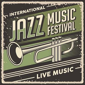 Retro-vintage-illustrationsvektorgrafik von jazzmusik passend für holzplakat oder beschilderung