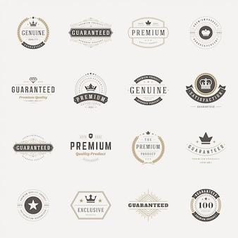 Retro vintage insignias oder logos vektor-design-elemente festgelegt