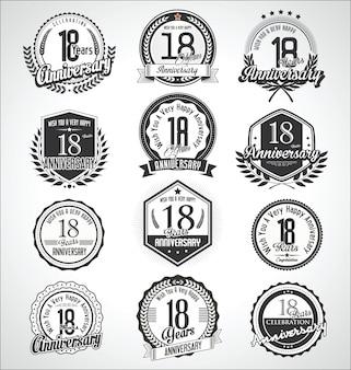 Retro vintage jubiläum abzeichen und etiketten sammlung