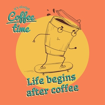 Retro vintage kaffee illustration mit charakter auf skateboard vektor
