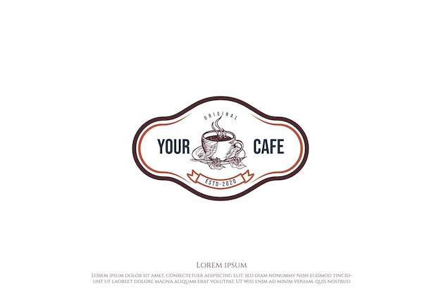 Retro vintage kaffeetasse für café-restaurant oder produkt-label-logo-design-vektor