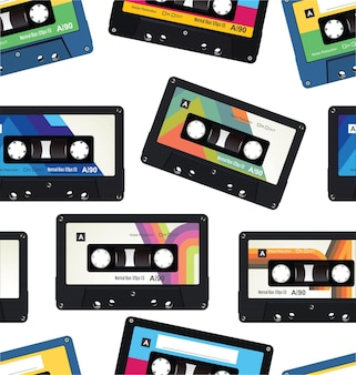 Retro vintage kassettenband nahtloses muster.
