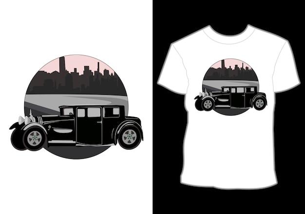 Retro, vintage, klassiker, auto und sommer shirt design mit blick auf die stadt
