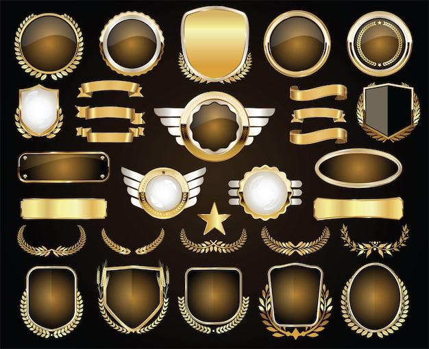 Retro-vintage-kollektion mit goldenem abzeichen und etiketten