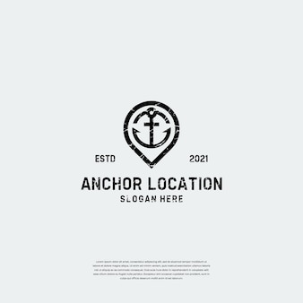 Retro vintage kombinieren anker mit pin-location-logo-vorlage
