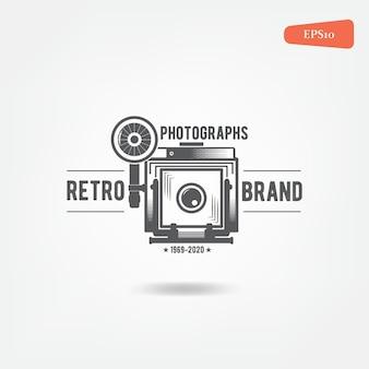 Retro-vintage-logo der alten kamera für fotografen.
