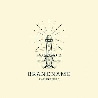 Retro vintage logo logo vorlage des leuchtturms und des fischschwanzes