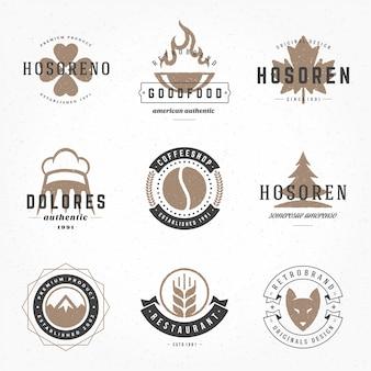Retro vintage logos oder insignien hand gezeichneter stilsatz