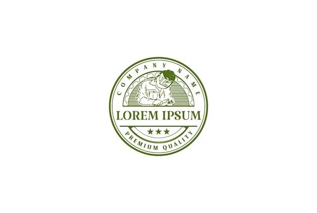 Retro-vintage-mann-schweißen-abzeichen-emblem für industrie-logo-design-vektor