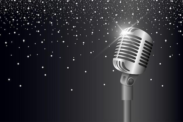 Retro-vintage-metallmikrofon auf ständer auf schwarzem hintergrund mit blendung und lichtmikrofon mit aufflackern