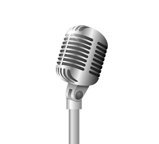 Retro-vintage-metallmikrofon auf ständer auf weißem hintergrundmikrofon mit flare-musik-sprachaufzeichnungssymbol