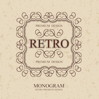 Retro vintage monogramm elemente