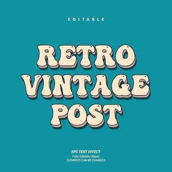Retro vintage post grooviger texteffekt editierbarer premium-premium-vektor