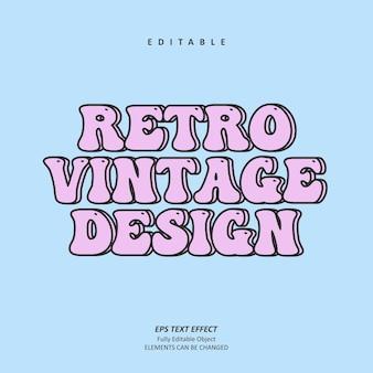 Retro-vintage-post-text-effekt editierbarer premium-premium-vektor