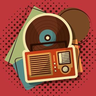 Retro vintage radio audio musik vinyl memphis
