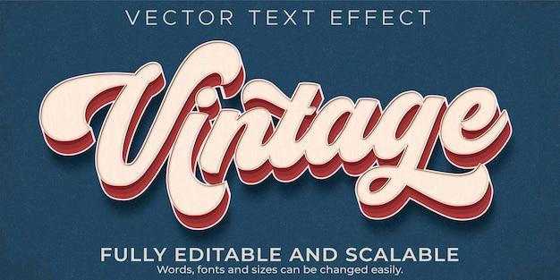 Retro, vintage-texteffekt, bearbeitbarer textstil der 70er und 80er jahre