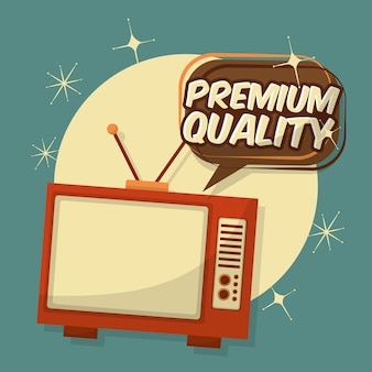Retro-vintage-tv premium-qualität sprechblase