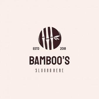 Retro vintage vektorschablone des bambusbaum-naturlogos