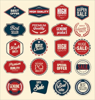 Retro vintage verkauf abzeichen und etiketten sammlung