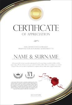 Retro-vintage-vorlage des zertifikats oder des diploms