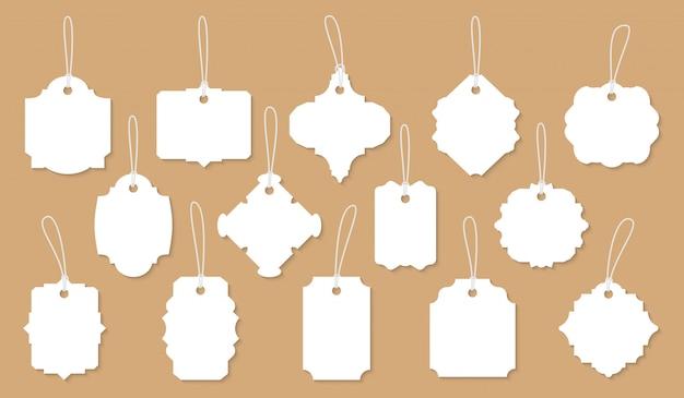 Retro vintage weiße etiketten papierschnitt set.