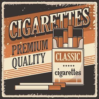 Retro vintage zigaretten poster zeichen