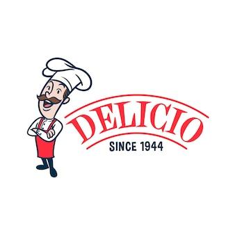 Retro vintages chef- oder koch-maskottchen-logo